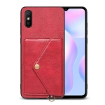 For Xiaomi Redmi 9A Litchi Texture Silicone + PC + PU Leather Back Cover Shockproof Case with Card Slot(Red)