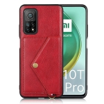 For Xiaomi Mi 10T Pro 5G Litchi Texture Silicone + PC + PU Leather Back Cover Shockproof Case with Card Slot(Red)
