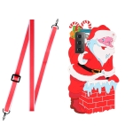 For Samsang Galaxy S21 5G Christmas Series Silicone Shockproof Case with Neck Lanyard(Santa Claus)