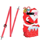 For Samsang Galaxy S10 Plus Christmas Series Silicone Shockproof Case with Neck Lanyard(Santa Claus)