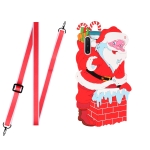 For Samsang Galaxy Note10 Christmas Series Silicone Shockproof Case with Neck Lanyard(Santa Claus)