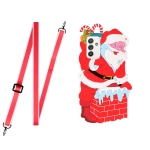 For Samsang Galaxy A52 5G / 4G Christmas Series Silicone Shockproof Case with Neck Lanyard(Santa Claus)