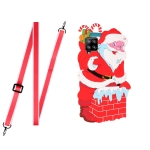 For Samsang Galaxy A22 4G Christmas Series Silicone Shockproof Case with Neck Lanyard(Santa Claus)