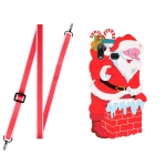 For Samsang Galaxy A10s Christmas Series Silicone Shockproof Case with Neck Lanyard(Santa Claus)