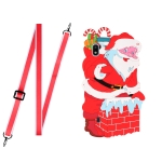 For Samsang Galaxy A10 Christmas Series Silicone Shockproof Case with Neck Lanyard(Santa Claus)