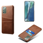 For Samsung Galaxy Note20 Calf Texture PC + PU Leather Back Cover Shockproof Case with Dual Card Slots(Brown)