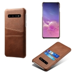 For Samsung Galaxy S10 Calf Texture PC + PU Leather Back Cover Shockproof Case with Dual Card Slots(Brown)