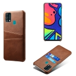 For Samsung Galaxy F41 Calf Texture PC + PU Leather Back Cover Shockproof Case with Dual Card Slots(Brown)