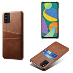 For Samsung Galaxy F52 5G Calf Texture PC + PU Leather Back Cover Shockproof Case with Dual Card Slots(Brown)