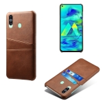 For Samsung Galaxy M40 Calf Texture PC + PU Leather Back Cover Shockproof Case with Dual Card Slots(Brown)