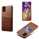 For Samsung Galaxy M31s Calf Texture PC + PU Leather Back Cover Shockproof Case with Dual Card Slots(Brown)