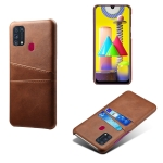 For Samsung Galaxy M31 Calf Texture PC + PU Leather Back Cover Shockproof Case with Dual Card Slots(Brown)