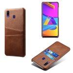 For Samsung Galaxy M10s Calf Texture PC + PU Leather Back Cover Shockproof Case with Dual Card Slots(Brown)
