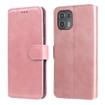 For Motorola Moto Edge 20 Lite Classic Calf Texture PU + TPU Horizontal Flip Leather Case with Holder & Card Slots & Wallet(Rose Gold)
