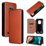 For Doogee S86 / S86 Pro Carbon Fiber Texture Magnetic Horizontal Flip TPU + PC + PU Leather Case with Card Slot(Brown)