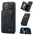 CaseMe C20 Multifunctional PC + TPU Protective Case with Holder & Card Slot & Wallet For iPhone 13 mini(Black)