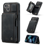 CaseMe C20 Multifunctional PC + TPU Protective Case with Holder & Card Slot & Wallet For iPhone 13(Black)