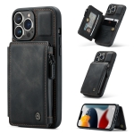 CaseMe C20 Multifunctional PC + TPU Protective Case with Holder & Card Slot & Wallet For iPhone 13 Pro(Black)