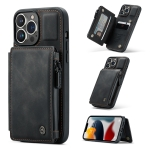 CaseMe C20 Multifunctional PC + TPU Protective Case with Holder & Card Slot & Wallet For iPhone 13 Pro Max(Black)