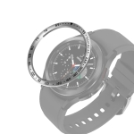 For Samsung Galaxy Watch4 Classic 42mm Smart Watch Steel Bezel Ring, E Version(Silver Ring Black Letter)