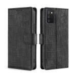 For Samsung Galaxy A03s Skin Feel Crocodile Texture Magnetic Clasp Horizontal Flip PU Leather Case with Holder & Card Slots & Wallet(Black)