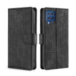 For Samsung Galaxy F62 / M62 Skin Feel Crocodile Texture Magnetic Clasp Horizontal Flip PU Leather Case with Holder & Card Slots & Wallet(Black)
