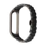 For Xiaomi Mi Band 4 / 3 Seven-beads Stainless Steel Replacement Strap Watchband(Black)