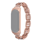 For Xiaomi Mi Band 6 / 5 8-shaped Diamond Alloy Replacement Strap Watchband(Rose Gold)