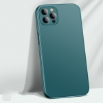 Precise Hole AG Matte Glass + Liquid Silicone Skin Feel Shockproof Case For iPhone 13 Pro Max(Dark Green)