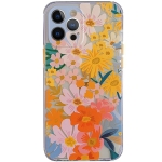 Shockproof TPU Pattern Protective Case For iPhone 13(Watercolor Chrysanthemum)