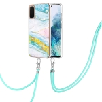 For Samsung Galaxy S20 Electroplating Marble Pattern IMD TPU Shockproof Case with Neck Lanyard(Green 004)
