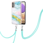 For Samsung Galaxy A32 5G Electroplating Marble Pattern IMD TPU Shockproof Case with Neck Lanyard(Green 004)