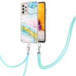 For Samsung Galaxy A72 5G / 4G Electroplating Marble Pattern IMD TPU Shockproof Case with Neck Lanyard(Green 004)