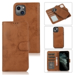 Retro 2 in 1 Detachable Magnetic Horizontal Flip TPU + PU Leather Case with Holder & Card Slots & Photo Frame & Wallet For iPhone 13(Brown)