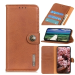 For Motorola G Pure KHAZNEH Cowhide Texture Horizontal Flip Leather Case with Holder & Card Slots & Wallet(Brown)