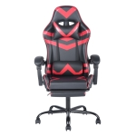 [US Warehouse] Ergonomic 180 Degrees Adjustable Swivel Task Chairs with Headrest & Lumbar Support & Footrest(Red)
