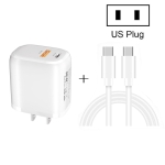 CS-20W Mini Portable PD3.0 + QC3.0 Dual Ports Fast Charger with 3A Type-C to Type-C  Data Cable(US Plug)