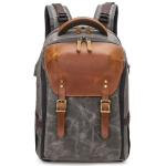 K805 Waterproof Batik Canvas Camera Backpack Outdoor Liner Shoulder Photography Bag(Grey)