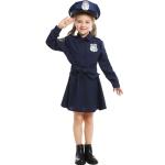 5062 Halloween Children Costume Girls Slim One-Piece Long Sleeve Police Skirt Uniform, Size: XS(Navy Blue)
