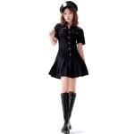 8331 Cotton Tie Policewoman Costume Halloween Bar Nightclub Uniform Set, Size: XL(Black)