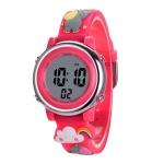 JNEW A380-86664 Children Cartoon 3D Happy Small Elephant Alarm Waterproof Sports LED Digital Watch(Red)